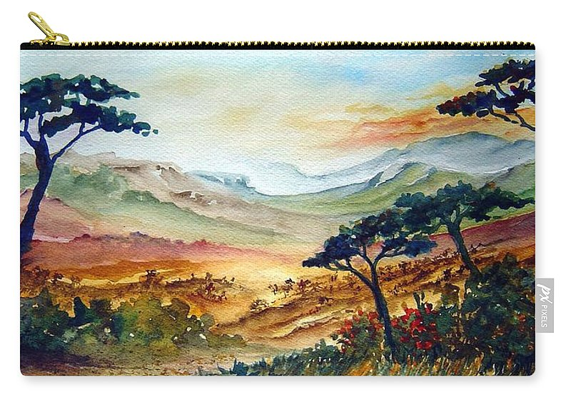 Africa Carry-all Pouch featuring the painting Africa by Joanne Smoley