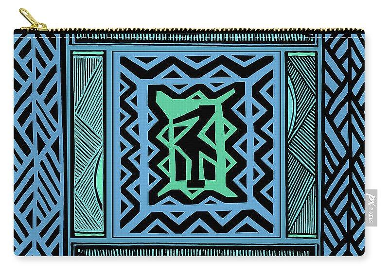 Tribal Quilt Carry-all Pouch featuring the digital art African Blue Bird by Vagabond Folk Art - Virginia Vivier