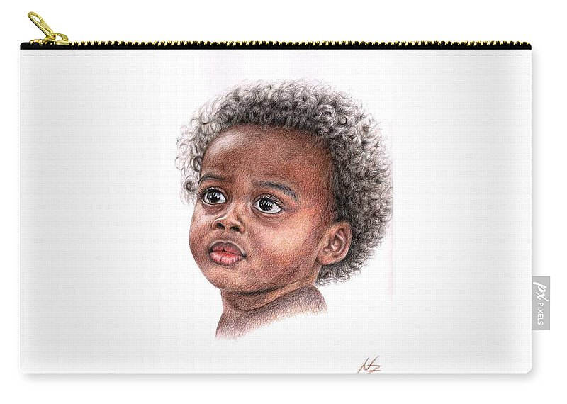 Child Carry-all Pouch featuring the drawing African Child by Nicole Zeug