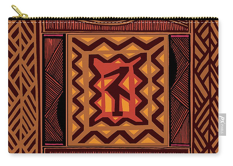 African Collage Rust Carry-all Pouch featuring the digital art African Collage Rust by Vagabond Folk Art - Virginia Vivier