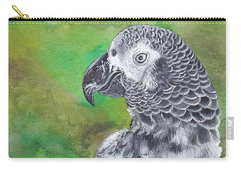 Africa Carry-all Pouch featuring the painting African Grey Parrot by Katherine Klimitas