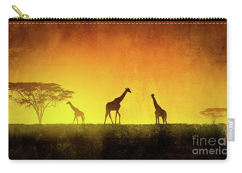 Africa Carry-all Pouch featuring the digital art African Landscape by Giordano Aita