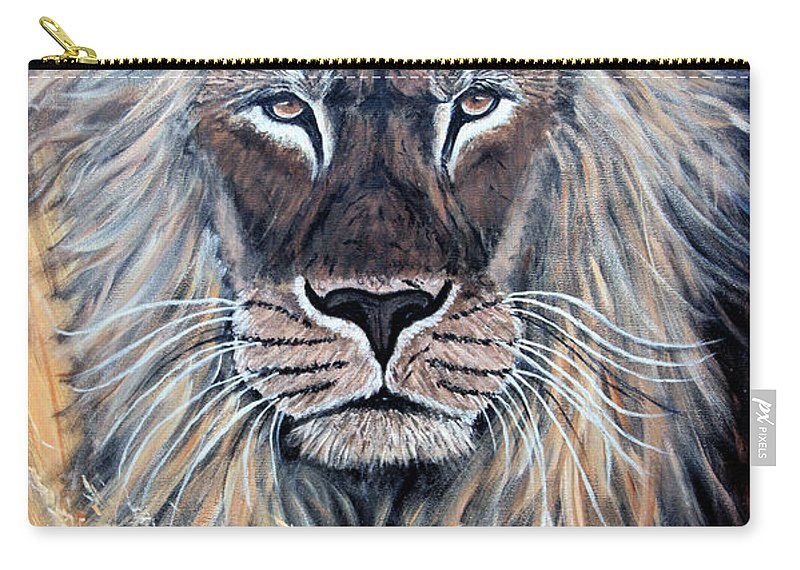 Lion Carry-all Pouch featuring the painting African Lion by Nick Gustafson