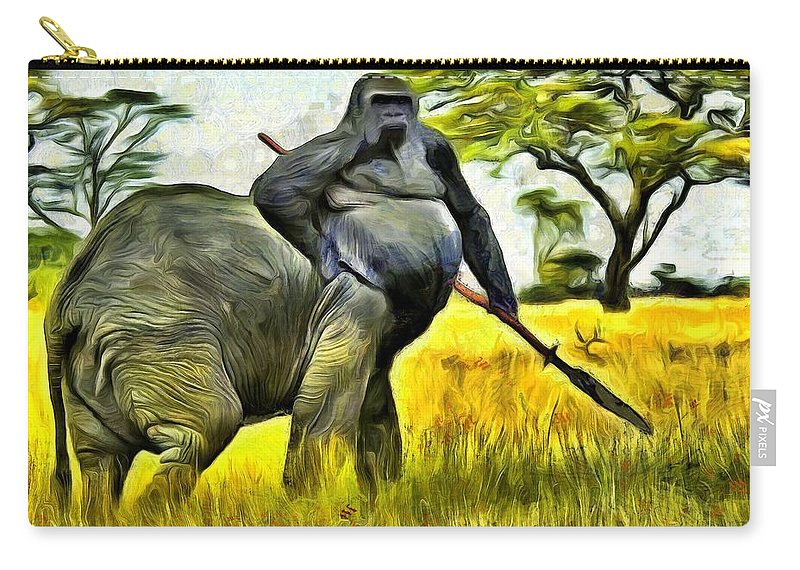 Africa Carry-all Pouch featuring the painting African Minotaur by Leonardo Digenio