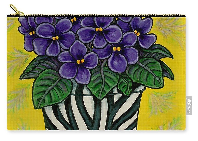 Violets Carry-all Pouch featuring the painting African Queen by Lisa Lorenz