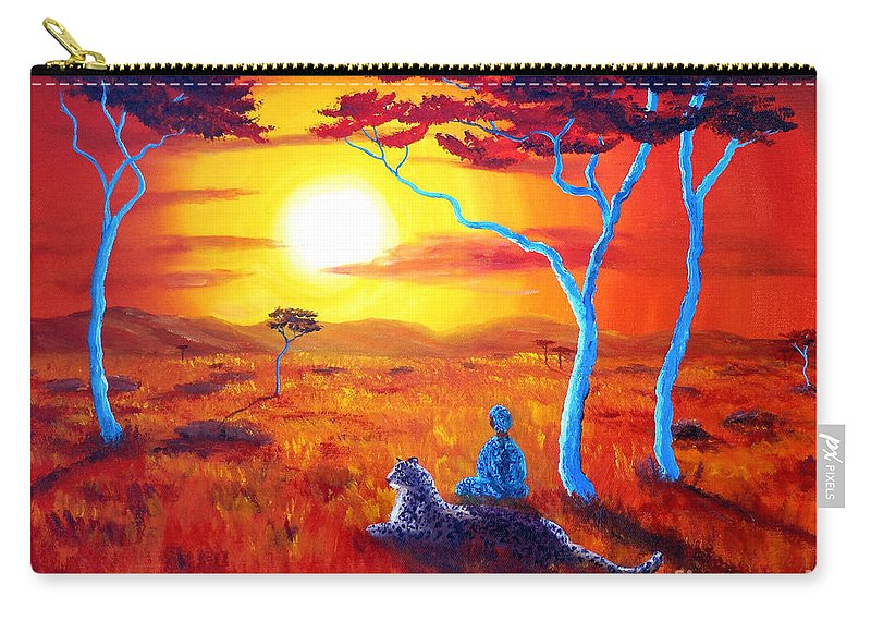 Painting Carry-all Pouch featuring the painting African Sunset Meditation by Laura Iverson