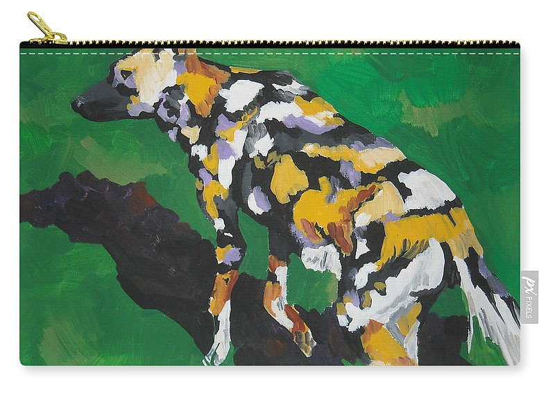 Wild Dog Carry-all Pouch featuring the painting African Wild Dog by Caroline Davis