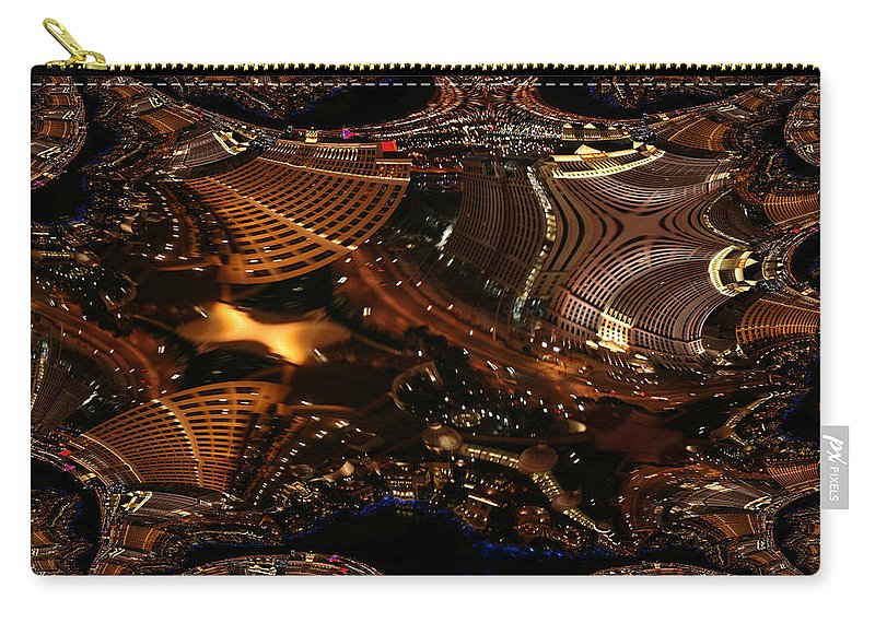 Las Vegas City The Strip Night Photograph Belagio Paris Caesars Palace Night Life Carry-all Pouch featuring the photograph After A Night In Vegas by Andrea Lawrence