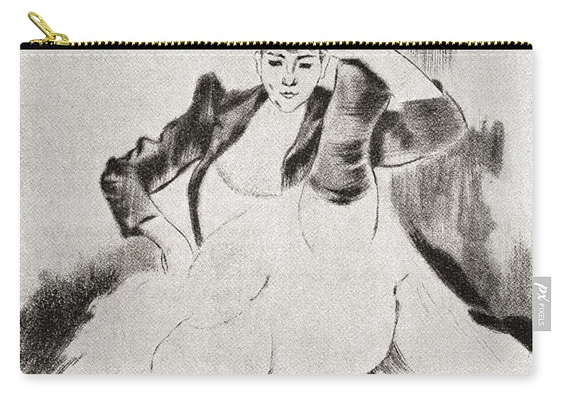 Welsh Carry-all Pouch featuring the drawing After A Work By Louis Legrand Entitled by Vintage Design Pics