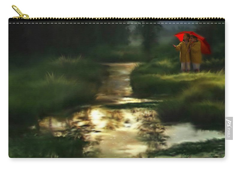 Boys Carry-all Pouch featuring the digital art After Morning Rain by Stephen Lucas