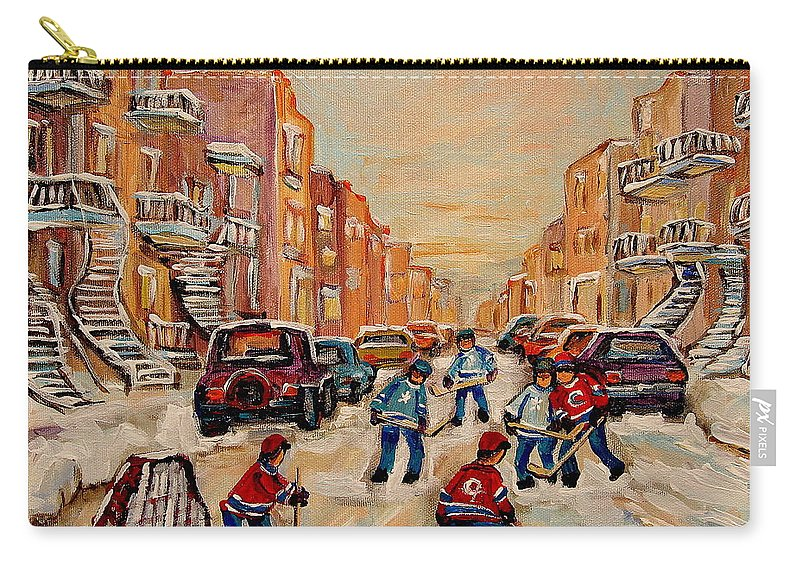 After School Hockey Game Carry-all Pouch featuring the painting After School Hockey Game by Carole Spandau