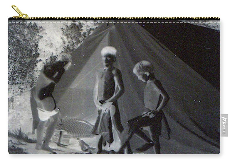 Boys Swimming Camping Tent Nature Clothes Classic 1950s Carry-all Pouch featuring the photograph After Swimming by Andrea Lawrence
