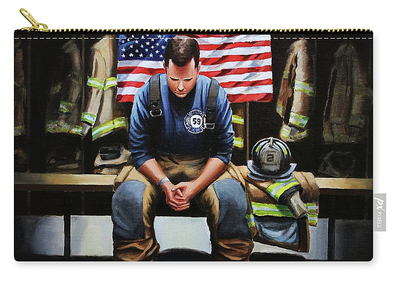 Firefighter Carry-all Pouch featuring the painting After the Fire by Paul Walsh