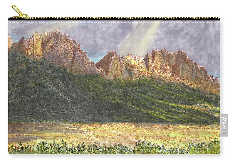 Jacks Watercolor Painting Of The Organ Mountains After A Heavy Rain Carry-all Pouch featuring the painting After The Monsoon Organ Mountains by Jack Pumphrey