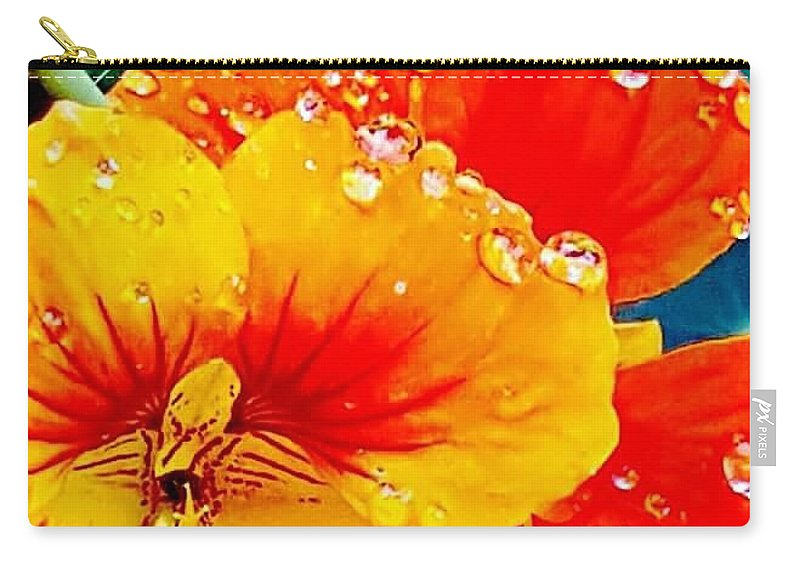 Orange Flower Carry-all Pouch featuring the photograph After The Rain Color by Joy Newman