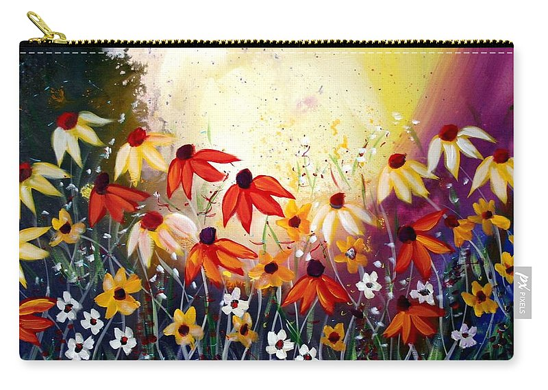 Flowers Carry-all Pouch featuring the painting After The Rain by Luiza Vizoli