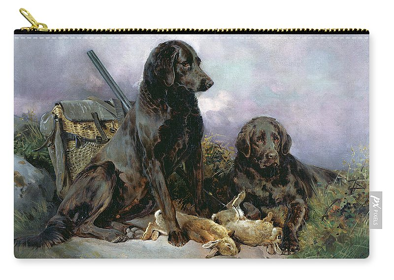 Black; Labrador; Shotgun; Rabbit Carry-all Pouch featuring the painting After The Shoot by William Woodhouse