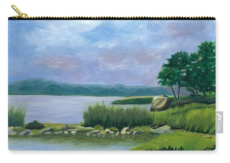 Seascape Carry-all Pouch featuring the painting Afternoon At Pilgrim by Paula Emery