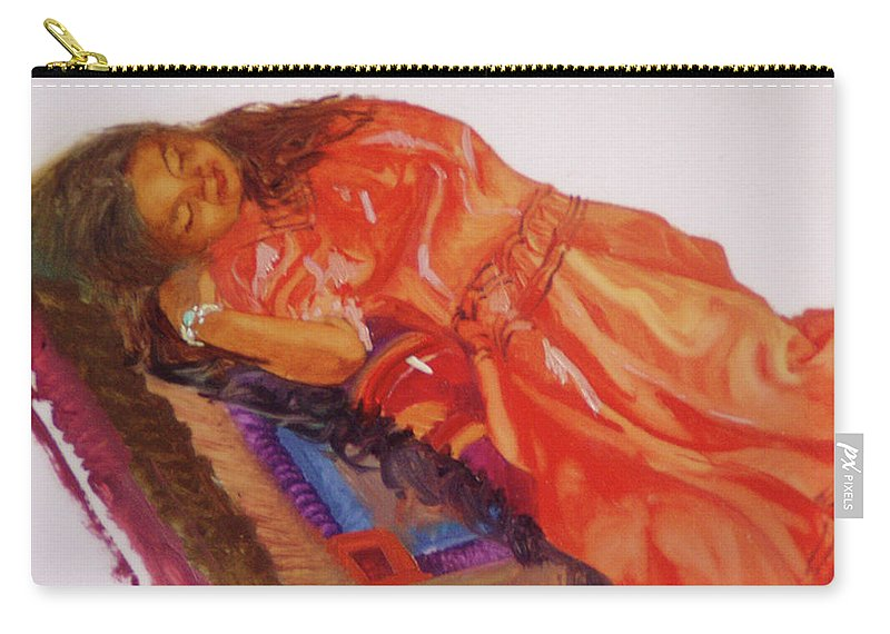 Miniatures Carry-all Pouch featuring the painting Afternoon Nap by Betty Jean Billups