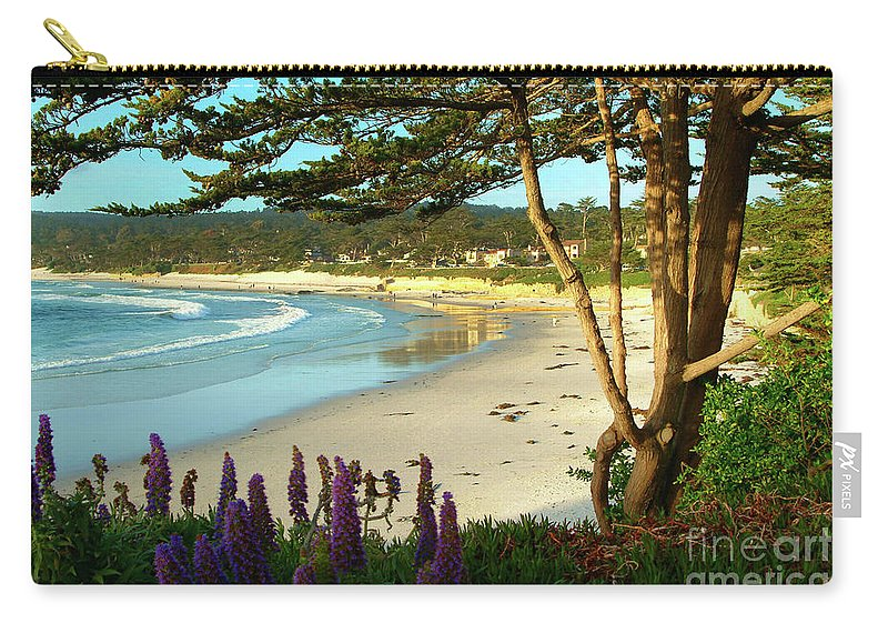 Carmel-by-the-sea Carry-all Pouch featuring the photograph Afternoon on Carmel Beach by Charlene Mitchell
