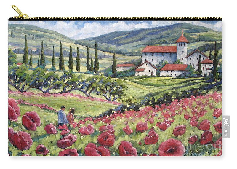 Tuscan Carry-all Pouch featuring the painting Afternoon Stroll by Richard T Pranke