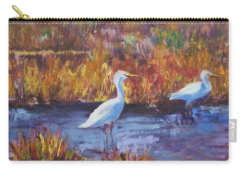 Maine Carry-all Pouch featuring the painting Afternoon Waders by Alicia Drakiotes