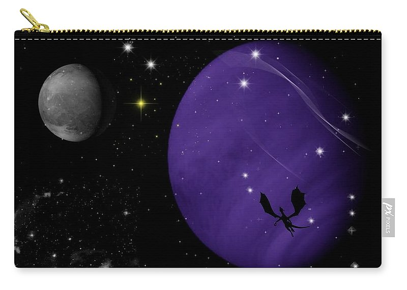 Dragon Carry-all Pouch featuring the digital art Again They Rise by Rhonda Barrett