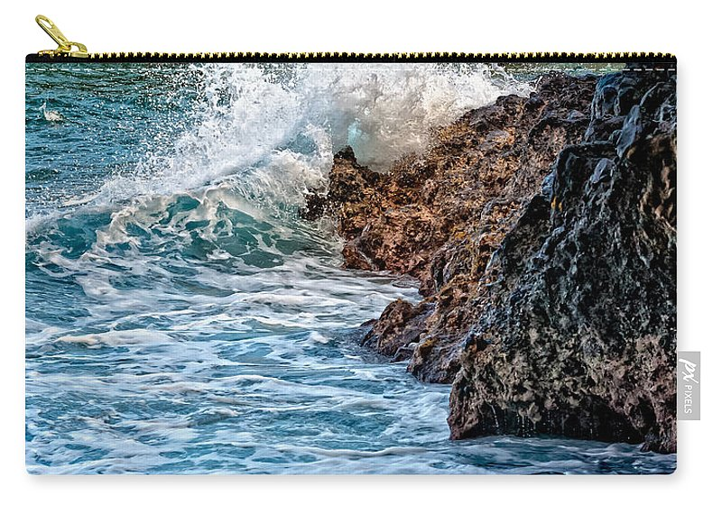 Hawaii Carry-all Pouch featuring the photograph Against The Rocks by Christopher Holmes