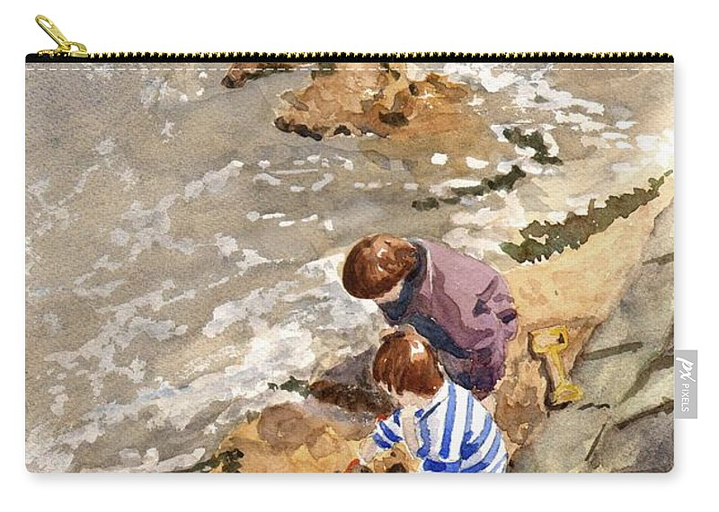 Water. Sea. Tide. Boys. Children. Coast. Beach. Coastal. Sand. Sea. Play. Carry-all Pouch featuring the painting Against The Tide by John Cox