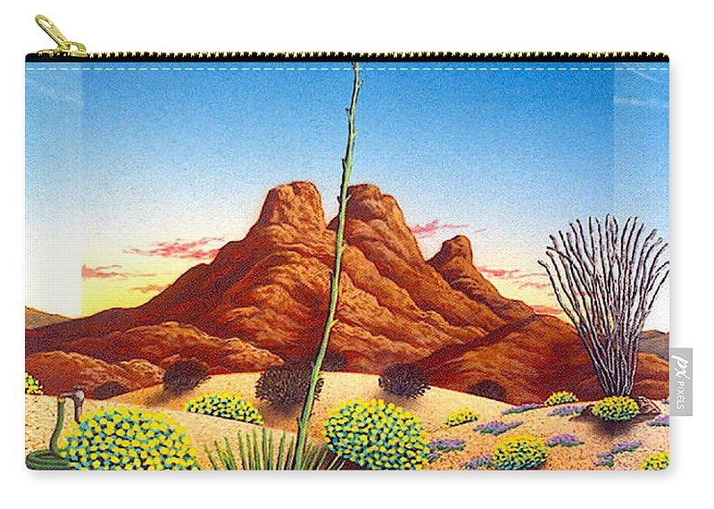 Agave Cactus Carry-all Pouch featuring the painting Agave Bloom by Snake Jagger