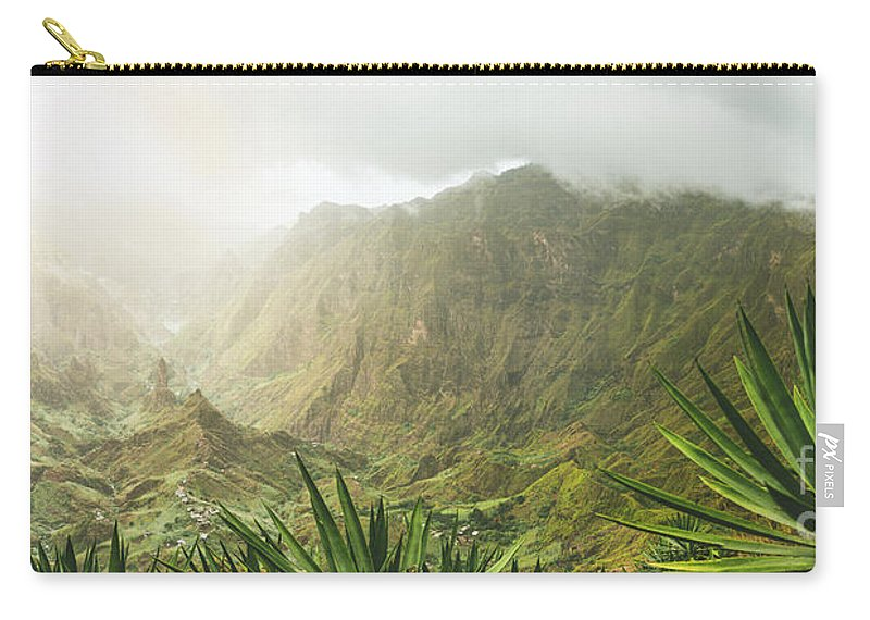 Verde Carry-all Pouch featuring the photograph Agave Plants And Rocky Mountains. Santo Antao. by Igor Tichonow