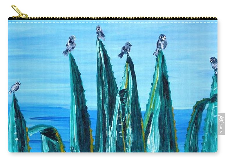 Landscape Carry-all Pouch featuring the painting Agave With Sparrows by Valerie Ornstein