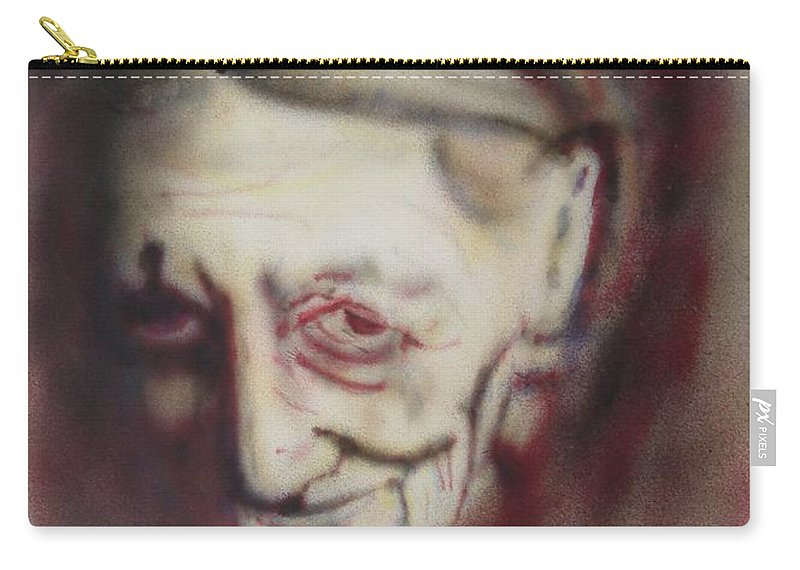 Portrait Carry-all Pouch featuring the painting Aged Smile by Ron Bissett