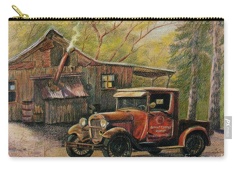 Old Trucks Carry-all Pouch featuring the drawing Agent's Visit by Marilyn Smith