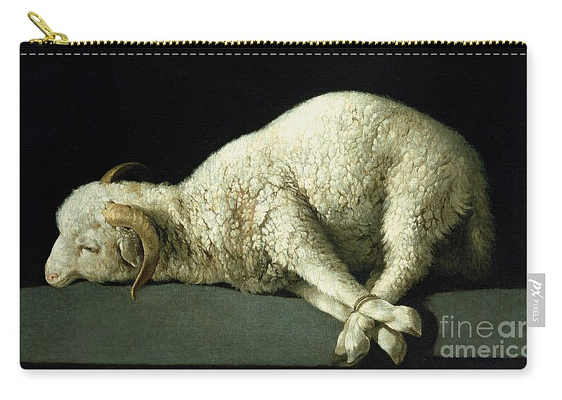 Agnus Carry-all Pouch featuring the painting Agnus Dei by Francisco de Zurbaran