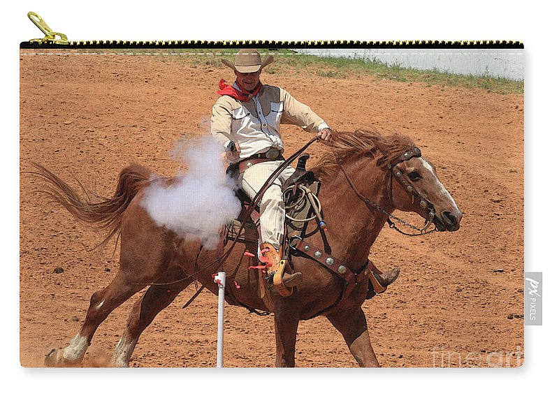 Western Art Carry-all Pouch featuring the photograph Aim..fire..pop by Kim Henderson