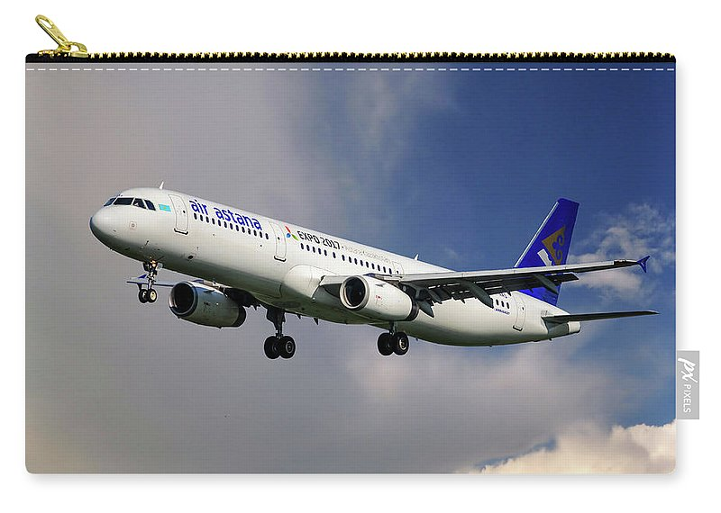 Air Astrana Carry-all Pouch featuring the photograph Air Astana Airbus A321 by Smart Aviation
