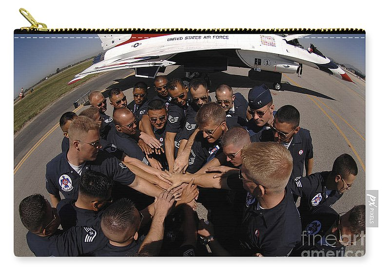 Adults Only Carry-all Pouch featuring the photograph Air Force Thunderbird Maintainers Bring by Stocktrek Images
