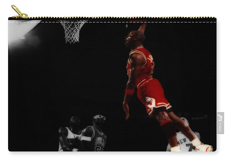 Michael Jordan Carry-all Pouch featuring the digital art Air Jordan Glide by Brian Reaves