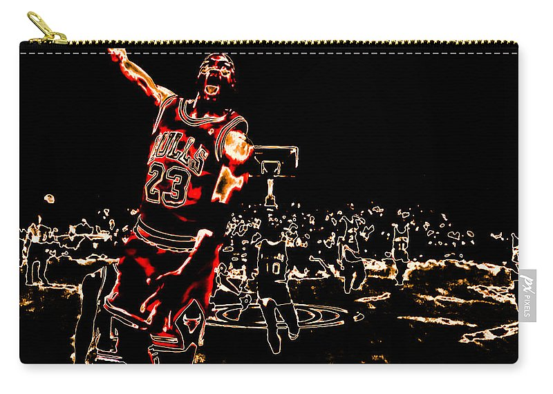 Michael Jordan Carry-all Pouch featuring the digital art Air Jordan Thermal by Brian Reaves