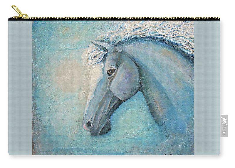 Horse Painting Carry-all Pouch featuring the painting Air by Nancy Q Studio