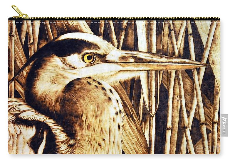 Heron Carry-all Pouch featuring the pyrography Airone by Ilaria Andreucci
