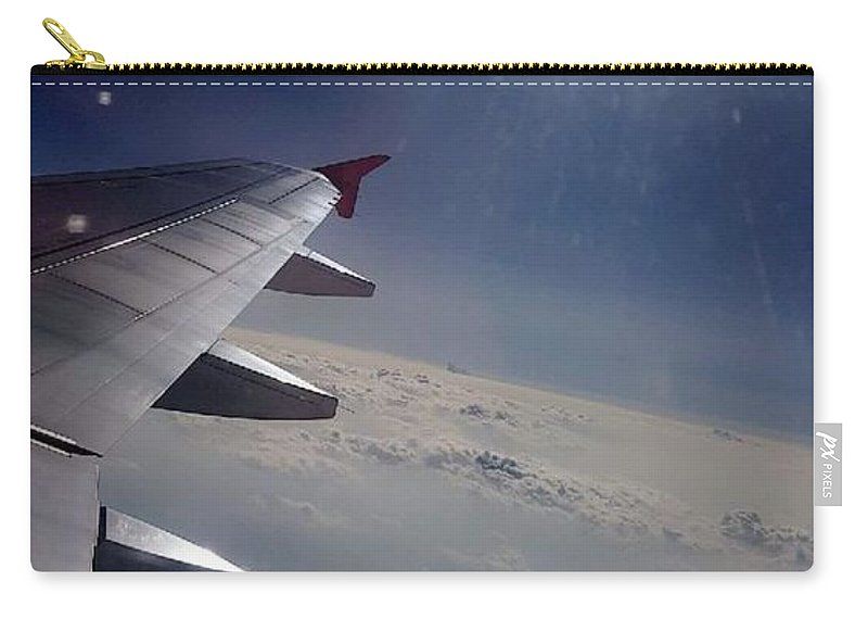 Airplane Wing. Clouds. Sky. Pretty View. Carry-all Pouch featuring the photograph Airplane Wing In Clouds by Amber Carpenter