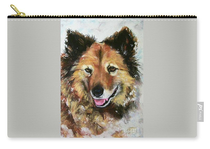 Dog Carry-all Pouch featuring the painting Akia by Frances Marino