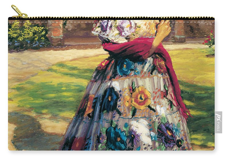 Woman Elaborately Embroidered Mexican Dress. Background Mission San Juan Capistrano. Carry-all Pouch featuring the painting Al Aire Libre by Jean Hildebrant