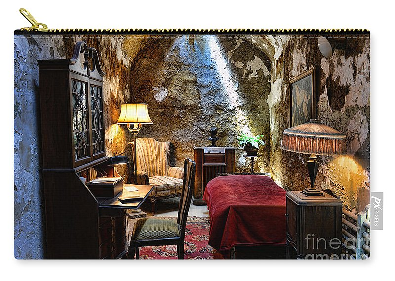 Al Capone's Jail Cell Carry-all Pouch featuring the photograph Al Capone's Cell - Scarface - Eastern State Penitentiary by Paul Ward