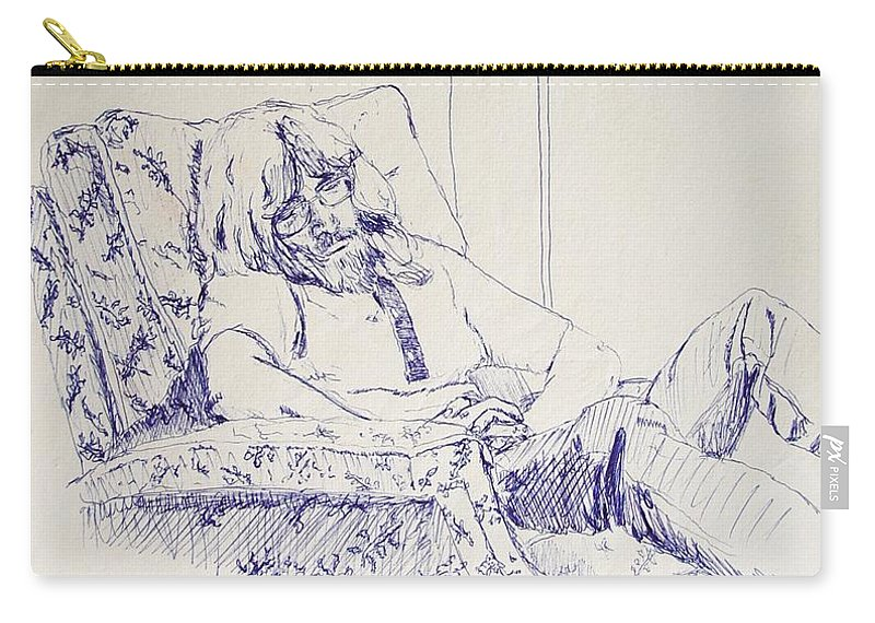 Portrait Carry-all Pouch featuring the drawing Al-studying by Ron Bissett