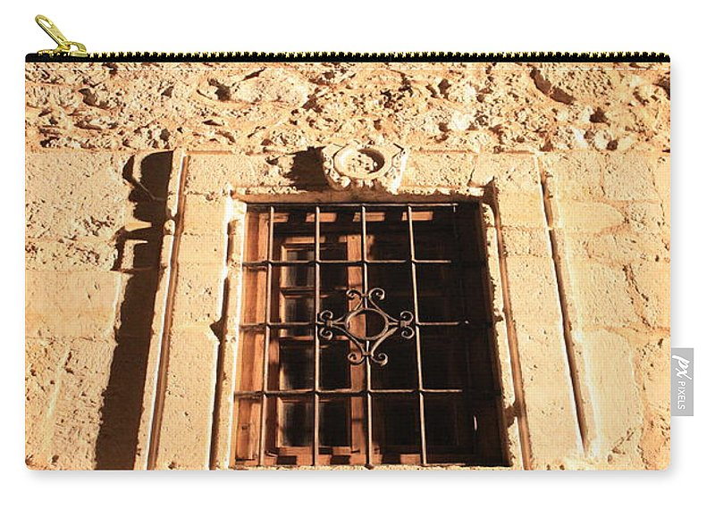 Alamo Carry-all Pouch featuring the photograph Alamo Night Window by Carol Groenen