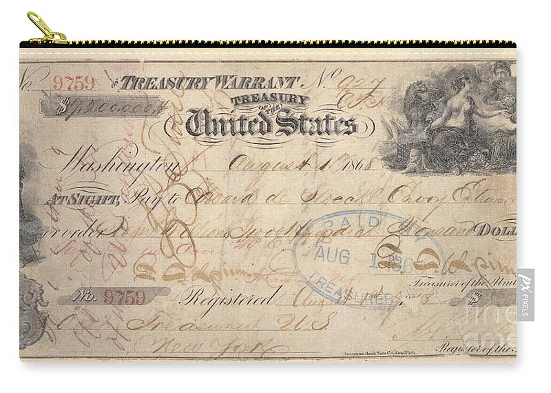 1867 Carry-all Pouch featuring the photograph Alaska Purchase: Check by Granger