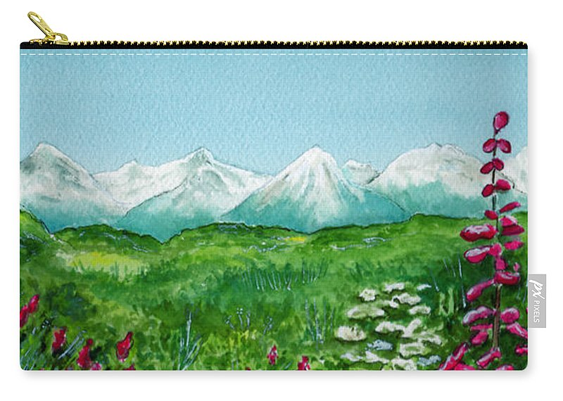 Landscape Carry-all Pouch featuring the painting Alaska Splendor by Brenda Owen